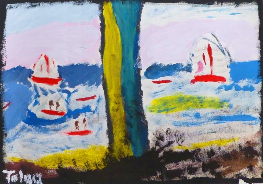 Künstler: Tolga Sauli, Titel: Blick auf einen See, Technik: Acryl auf Papier in Anlehnung an Max Liebermann