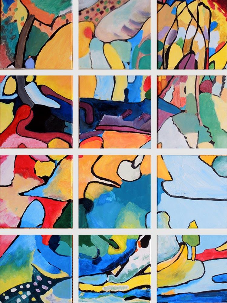 RWB Essen - Bild des Monats Juli 2018 - Gemeinschaftsarbeit der KEV-2 - nach Wassily Kandinsky, Fragment zur Komposition II, 1910