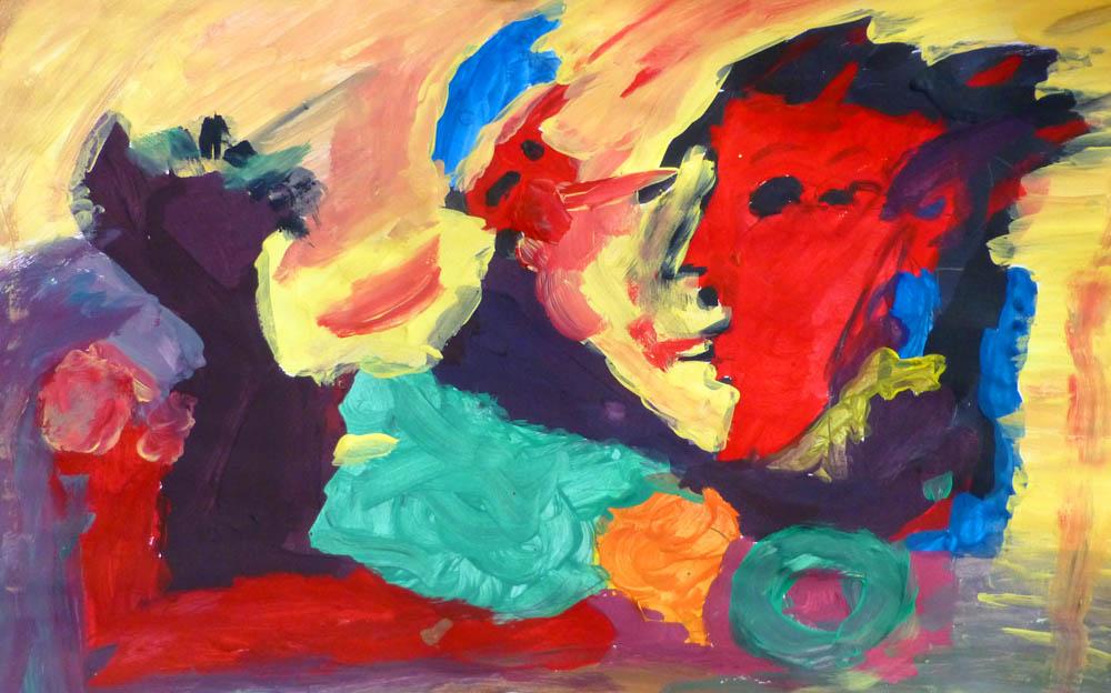 """Bildkomposition nach Pablo Picassos """"Liegender Akt mit Vogel"""", 1969"""