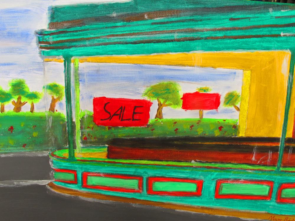 "Künstler: Marc Birkel, KE 1-E, Bildzitat nach dem Bild ""Nighthawks"" von Edward Hopper"