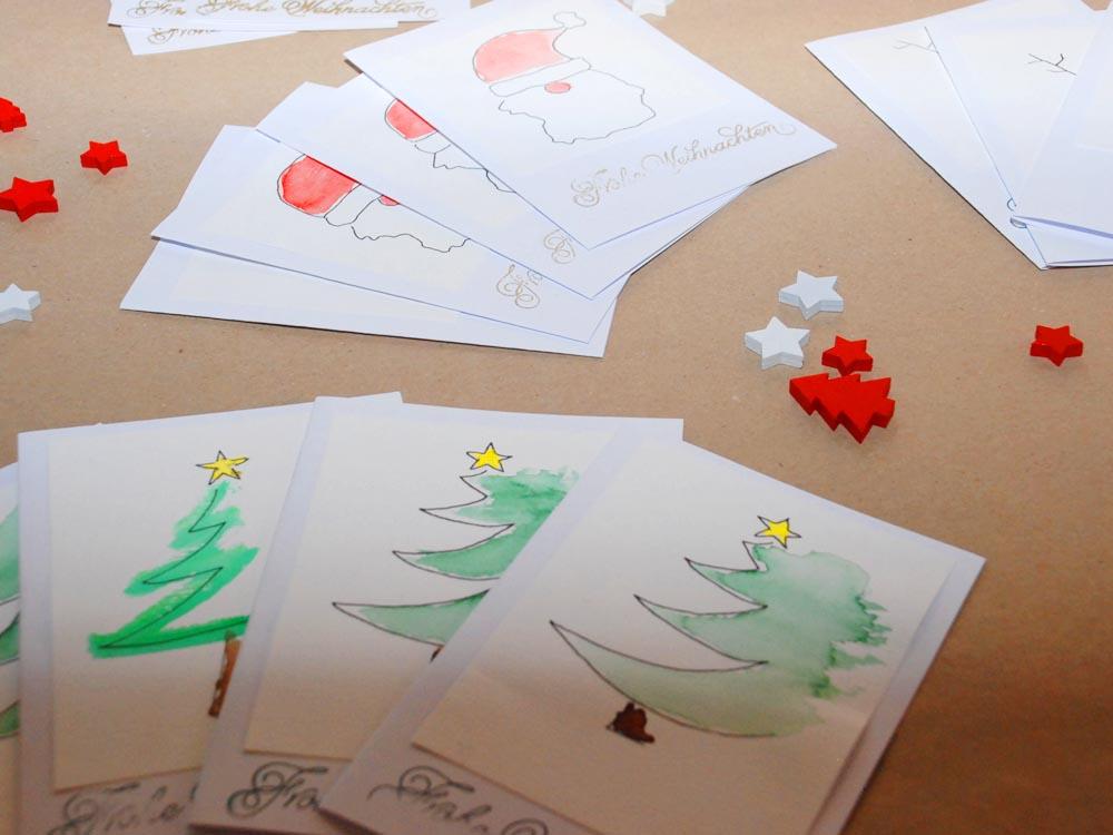 RWB Essen - Weihnachtsmarkt 2017 - Weihnachtskarten am Verkaufsstand für Papierarbeiten