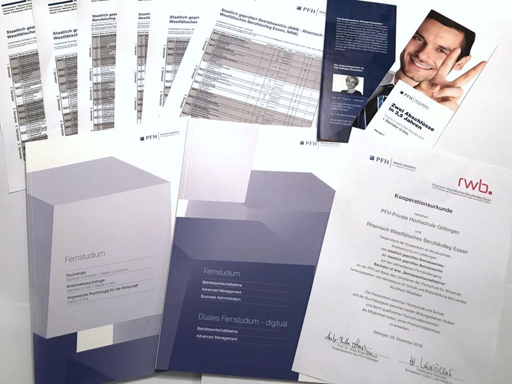 RWB Essen - Kooperation mit der PFH Göttingen - Informationsmaterial zum Kooperationsvertrag