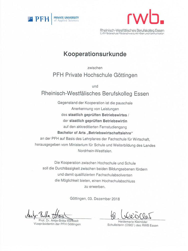 RWB Essen - Kooperation mit der PFH Göttingen - Die Kooperationsurkunde zwischen dem RWB Essen und der PFH Göttingen