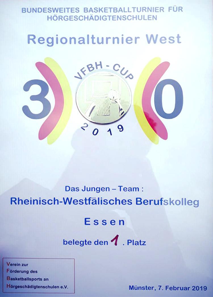 RWB Essen - Qualifikationsturnier für die Basketball-Schülermeisterschaft 2019 - Die Urkunde