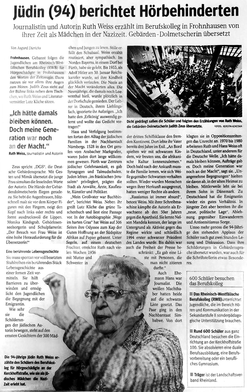 RWB Essen - Besuch der Zeitzeugin Ruth Weiss - Zeitungsartikel über die Veranstaltung in der WAZ vom 16. April 2019