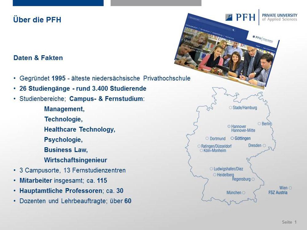 RWB Essen - Präsentation der PFH Göttingen - Daten und Fakten zur PFH Göttingen