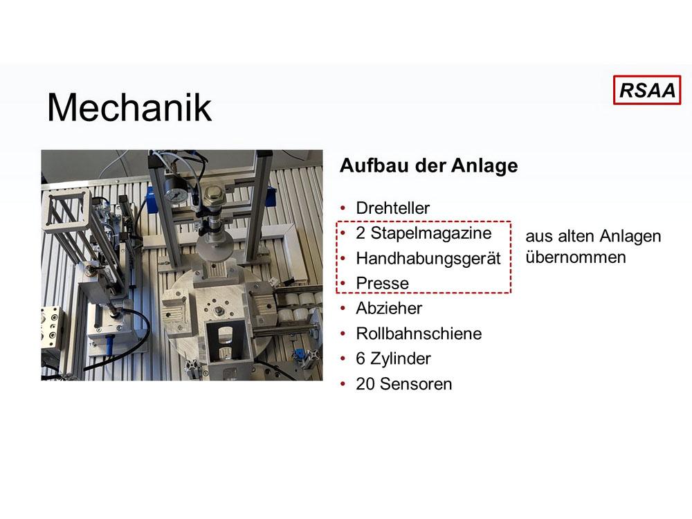 RWB Essen - Fachschule Automatisierungstechnik - Präsentation der Abschlussprojekte - Gruppe 1 - Einblick in die Mechanik