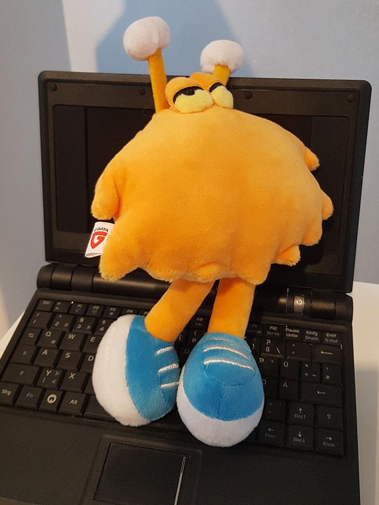 RWB Essen - Exkursion zu G Data - Das ist Viri, das Maskottchen der Firma G Data.