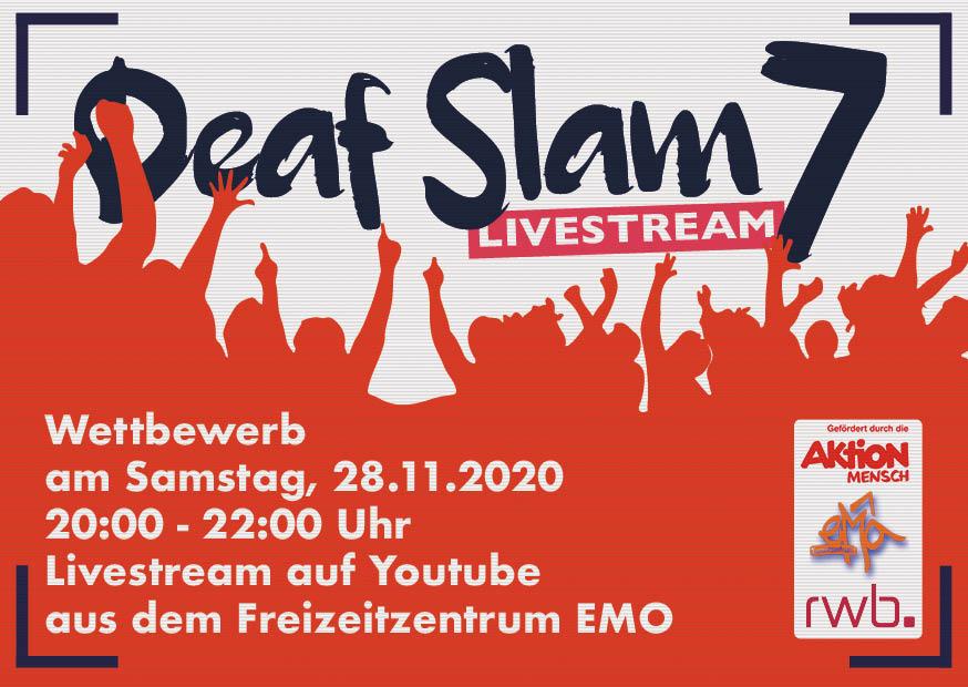 RWB Essen - Deaf Slam 7 - Vorderseite des Flyers - Gestaltet von Phil Dickmann