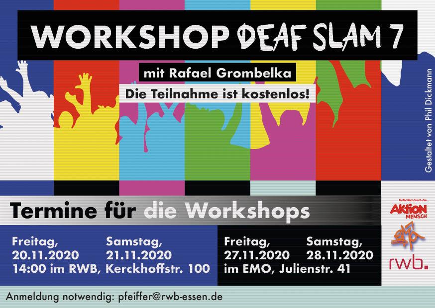RWB Essen - Deaf Slam 7 - Rückseite des Flyers - Gestaltet von Phil Dickmann