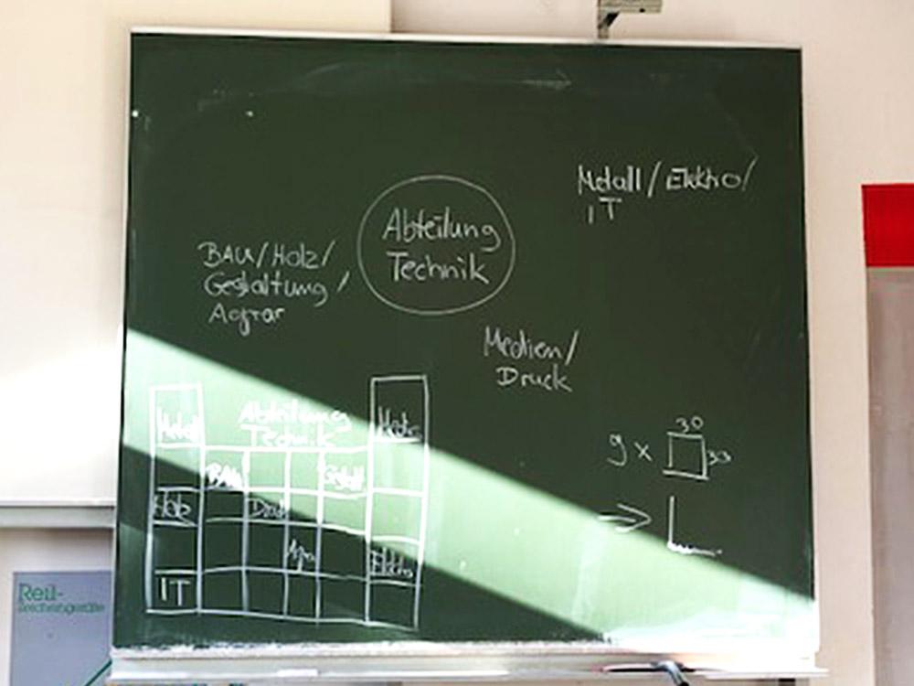 """RWB Essen - Projekt """"Abteilung Technik in einem Schaufenster"""" - Die Schülerin zeichnet erste Skizzen und Ideen für das Schaufenster an der Tafel."""