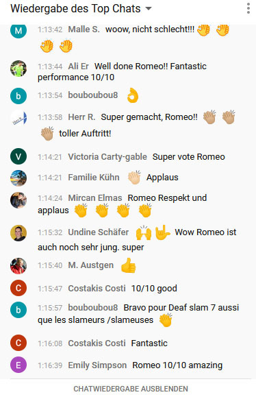 RWB Essen - DeafSlam 7 - Chatverlauf während des Livestreams