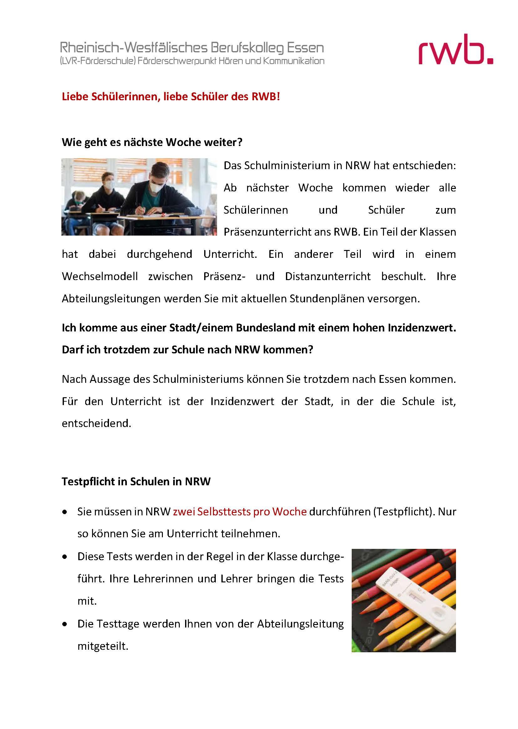 Schülerbrief vom 16. April 2021